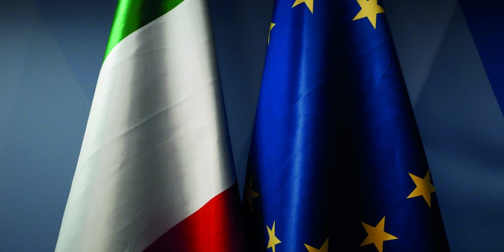 Flag of Italy and EU flag stands in European Council offices in Brussels, Belgium, 29 June 2018.